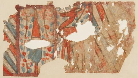 Fragment de dessin : décor de rayures et animal schématique