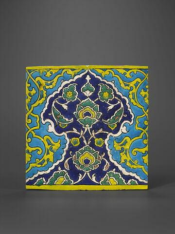 Carreau à frise de lambrequins bleu et turquoise imbriqués