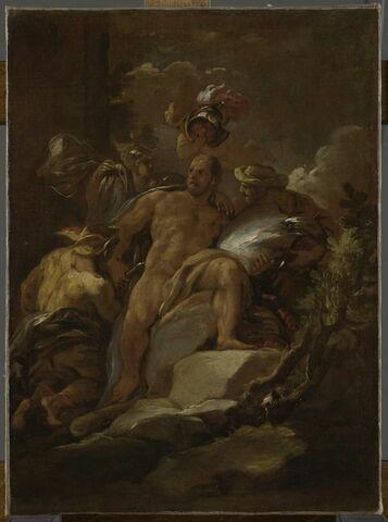 Mercure, Pallas et Vulcain fournissant des armes à Hercule