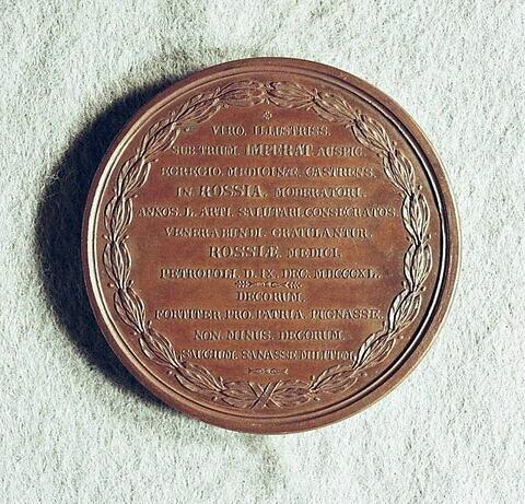 Médaille : Cinquante ans d'exercice du médecin chef baronet Wylie, 1840.