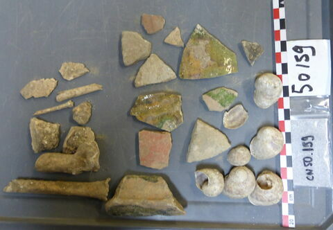 vase, récipient, fragment ; objet indéterminé, fragment ; reste animal, os ; escargot, fragment