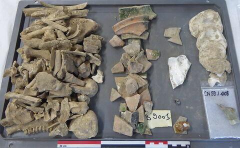 tuile, fragment ; vase, récipient, fragment ; tige fragment ; reste animal, os ; reste animal, dent ; reste animal coquillage, fragment ; objet indéterminé, fragment