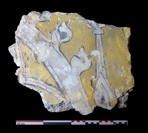 élément décoratif, fragment ; enduit peint, fragment