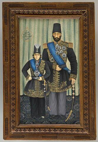 Portrait de Muzaffar al-Din Shah et de Aziz Khan Mukri