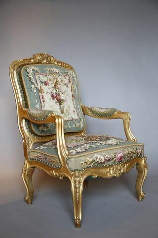 Fauteuil du salon des tapisseries de l'appartement de l'Impératrice aux Tuileries, d'un ensemble de 6 (F 574 C3 à C8)