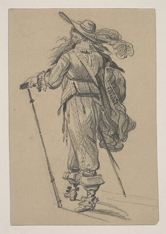 Portrait d'un homme en pied vu de dos, d'après un maître hollandais du 17ème siècle