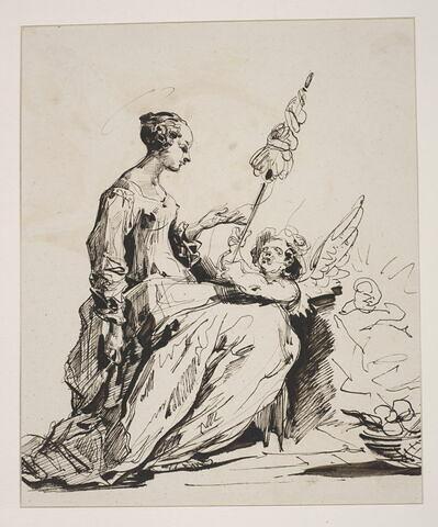 Sainte filant avec à ses côtés un ange