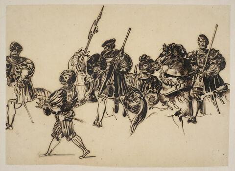Soldats et cavaliers en costume de la Renaissance allemande