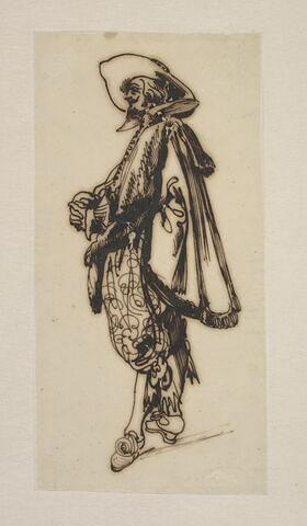 Gentilhomme en costume Louis XIII de profil gauche