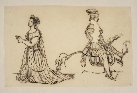 Femme en costume médiéval et cavalier