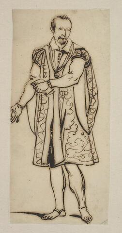 Personnage en costume Renaissance tenant un livre de la main gauche