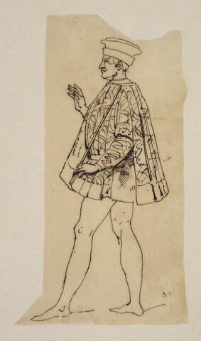 Personnage en costume Louis XIII avec chapeau et cape