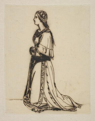 Jeune fille agenouillée, de profil à gauche en costume Renaissance