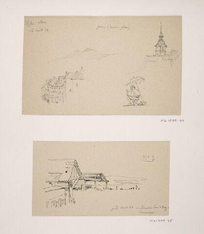 """Album du """"Voyage en Suisse"""". 1864, d'après Constant DUTILLEUX - Une ferme à Immensee(?) près du lac de Zug """"18 août 1864"""