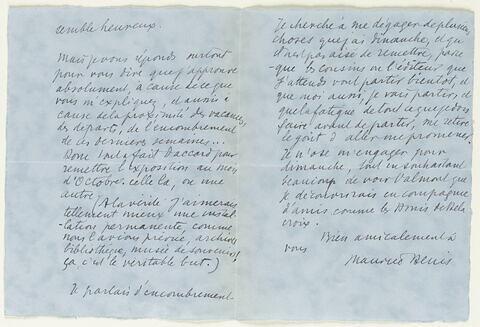 Lettre autographe signée Maurice Denis à Jean Sergent, mardi matin