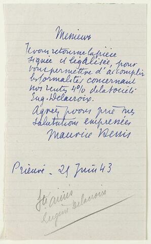 Lettre autographe signée Maurice Denis, 25 juin 1943