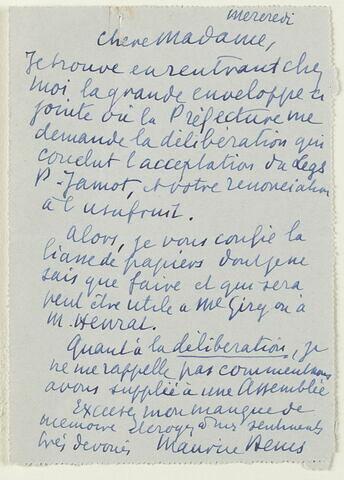 Lettre autographe signée Maurice Denis à la Comtesse de Waresquiel, mercredi