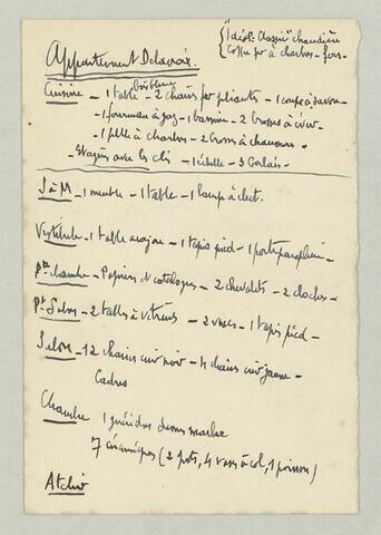 Début d'un inventaire mobilier de l'atelier de Delacroix