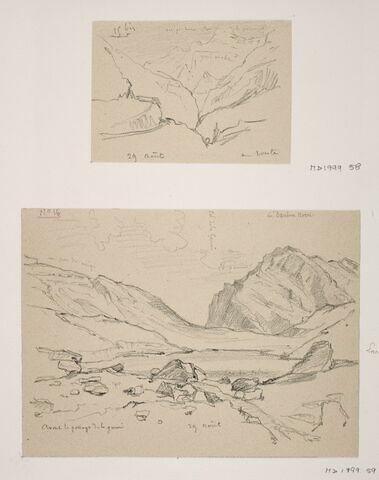 """Album du """"Voyage en Suisse"""". 1864, d'après Constant DUTILLEUX - Paysage de montagne """"29 Août"""""""