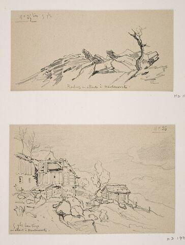 """Album du """"Voyage en Suisse"""". 1864, d'après Constant DUTILLEUX-Chalets en allant à Montauvert """"5 Septembre"""""""