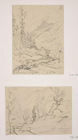 """Album du """"Voyage en Suisse"""". 1864, d'après Constant DUTILLEUX- Paysage avec pont sur torrent sur la route vers Argentière """"8 Septembre"""""""