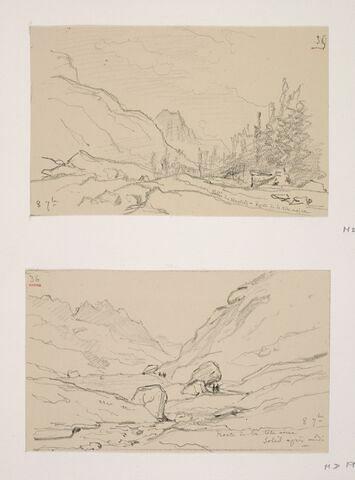 """Album du """"Voyage en Suisse"""". 1864, d'après Constant DUTILLEUX- Paysage sur la route de la Tête-Noire""""8 Septembre"""""""