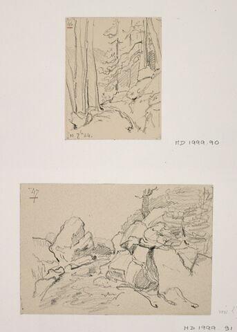 """Album du """"Voyage en Suisse"""". 1864, d'après Constant DUTILLEUX- Rochers"""