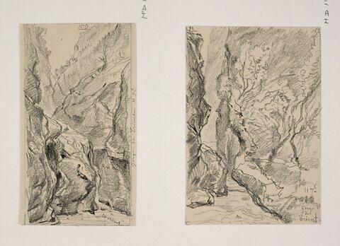 """Album du """"Voyage en Suisse"""". 1864, d'après Constant DUTILLEUX- Les gorges du Trient """"11 Septembre"""""""