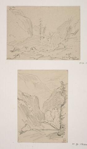 """Album du """"Voyage en Suisse"""". 1864, d'après Constant DUTILLEUX- Paysage près des gorges du Trient """"11 Septembre"""""""