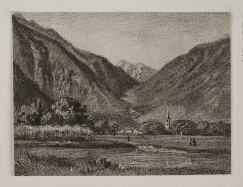 """Album du """"Voyage en Suisse"""". 1864, d'après Constant - Paysage d'une vallée en regard de Martigny"""