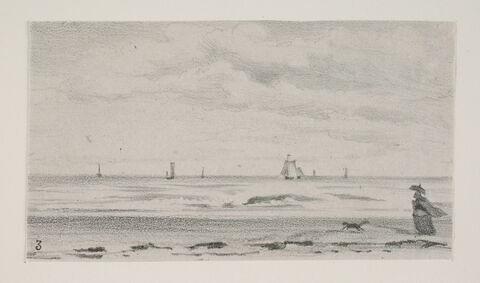 """Album du """"Voyage en Hollande"""". 1854, d'après Constant DUTILLEUX-Bord de mer près de Scheveningen"""
