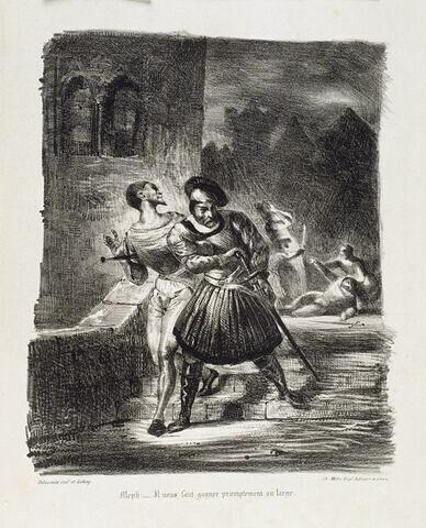 Faust et Méphistophélès fuyant après le duel (Épreuve du 1er tirage, 3e état)