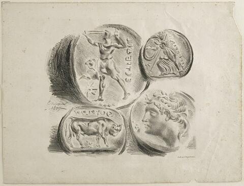 Feuille de quatre médailles antiques (2e état)
