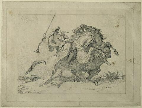 Rencontre de cavaliers maures, d'après Delacroix