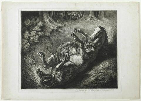 Cheval renversé par une lionne, d'après Delacroix