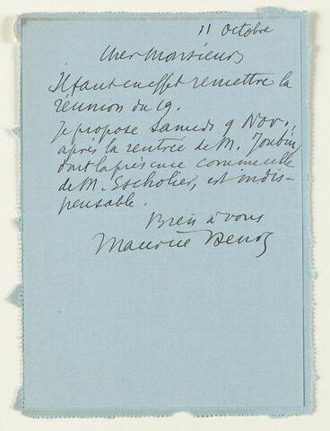 Lettre autographe signée Maurice Denis à Jean Sergent, Paris, 11 octobre