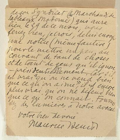 Lettre autographe signée Maurice Denis à André Joubin, 23 janvier