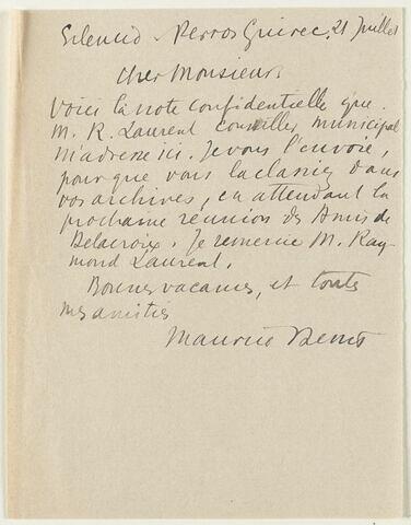 Lettre autographe signée Maurice Denis à Jean Sergent, 21 juillet 1931