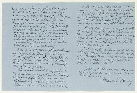 Lettre autographe signée Maurice Denis à Jean Sergent (?), mercredi matin