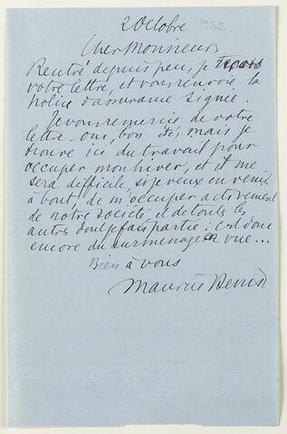 Lettre autographe signée Maurice Denis à Jean Sergent, 2 octobre