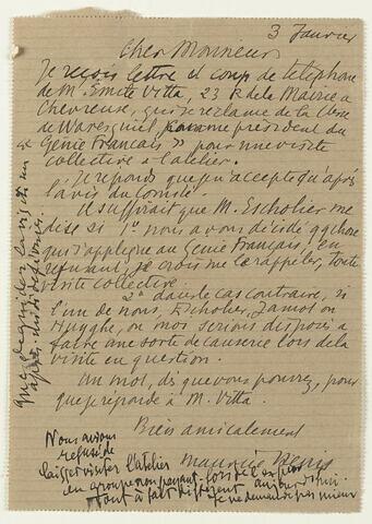 Lettre autographe signée Maurice Denis à Jean Sergent, 3 janvier