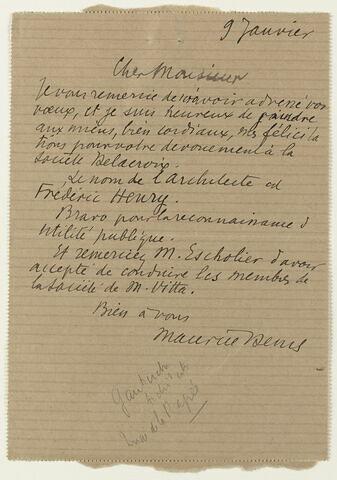 Lettre autographe signée Maurice Denis à Jean Sergent, 9 janvier 1933