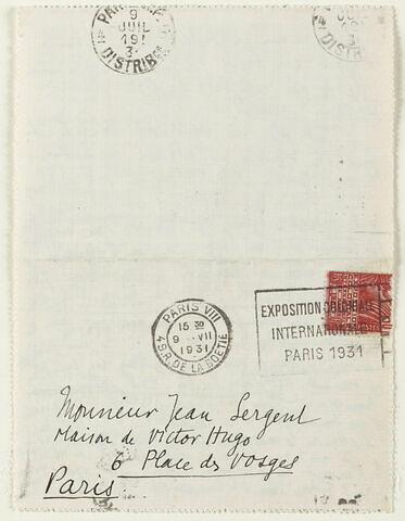 Lettre autographe signée Maurice Denis à Jean Sergent, 8 juillet