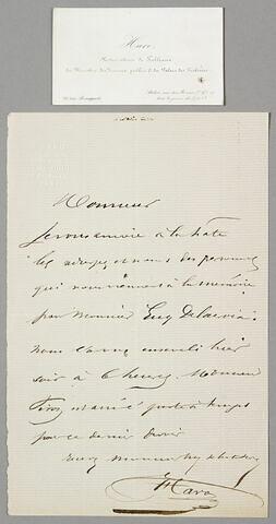 Lettre autographe signée Estienne-François Haro à Eugène Legrand