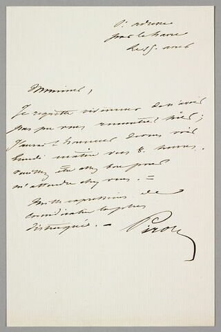 Lettre autographe signée Achille Piron à Eugène Legrand, Sainte-Adresse, 15 août