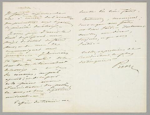 Lettre autographe signée Achille Piron à Eugène Legrand, Sainte-Adresse, 19 août 1863