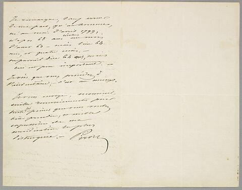 Lettre autographe signée Achille Piron à Eugène Legrand, Sainte-Adresse, 25 août 1863