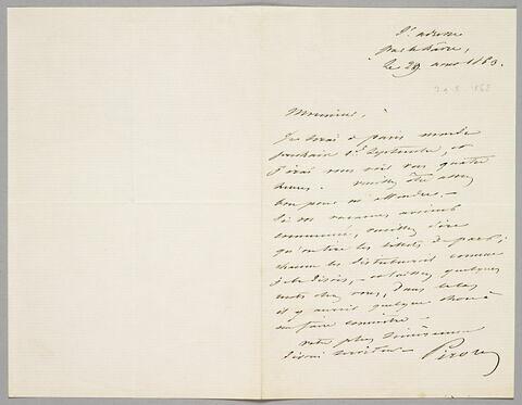 Lettre autographe signée Achille PIRON à Eugène Legrand, 29 août 1863