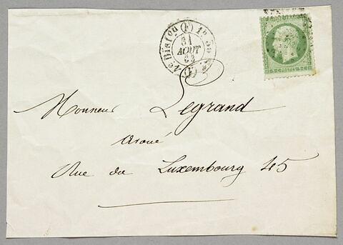 Avers de l'enveloppe de la lettre autographe signée Achille PIRON à Eugène Legrand, 29 août 1863