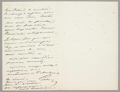 Lettre autographe signée Achille Piron à Eugène Legrand, Paris, 11 septembre 1863